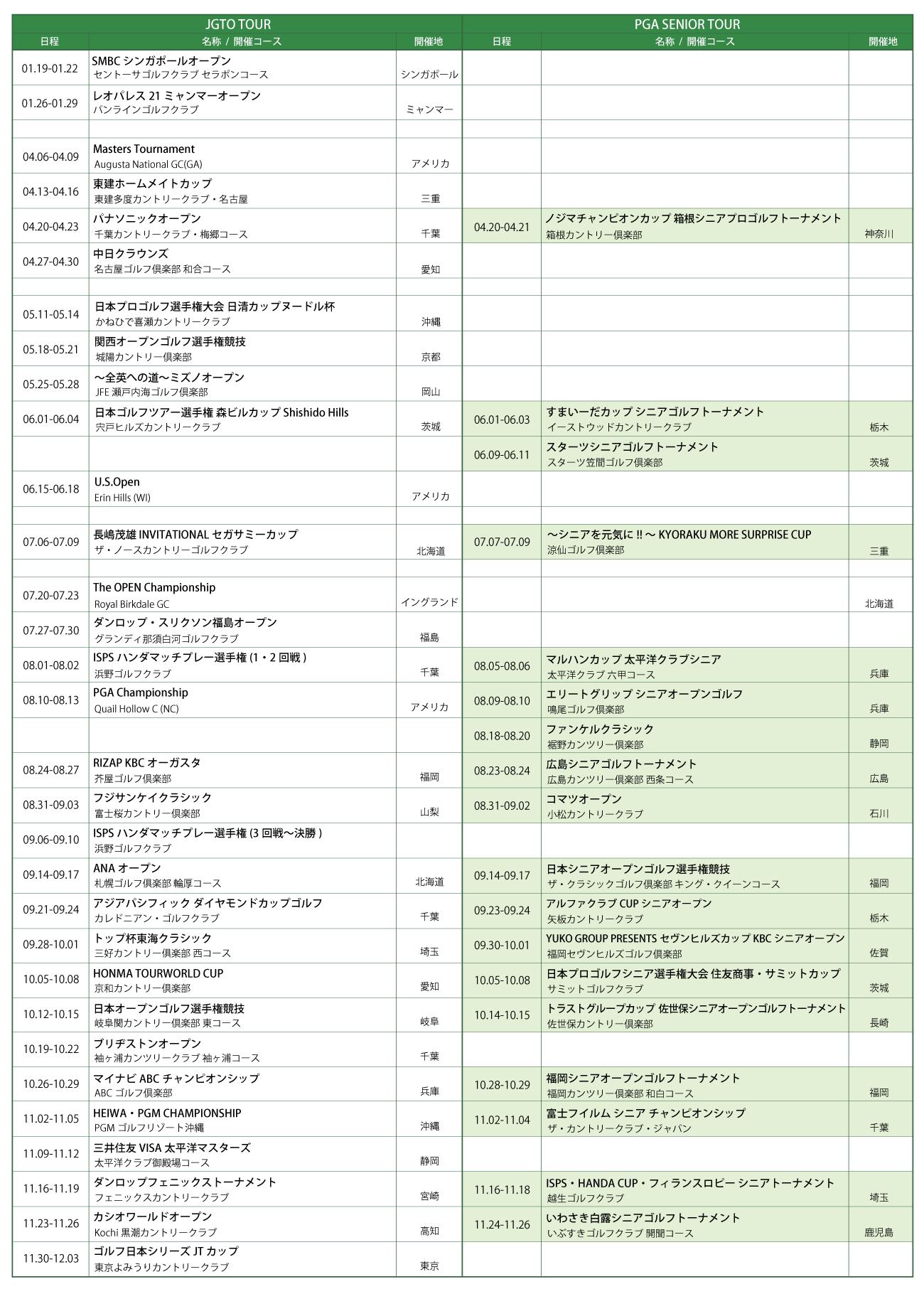 2017 トーナメントスケジュール